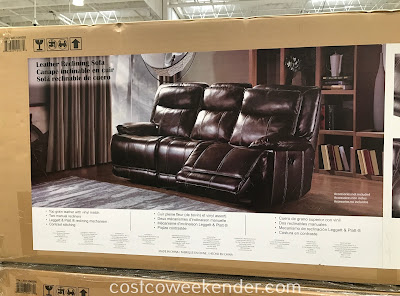 Costco 1049285 - Leather Reclining Sofa: great for any living room or family room
