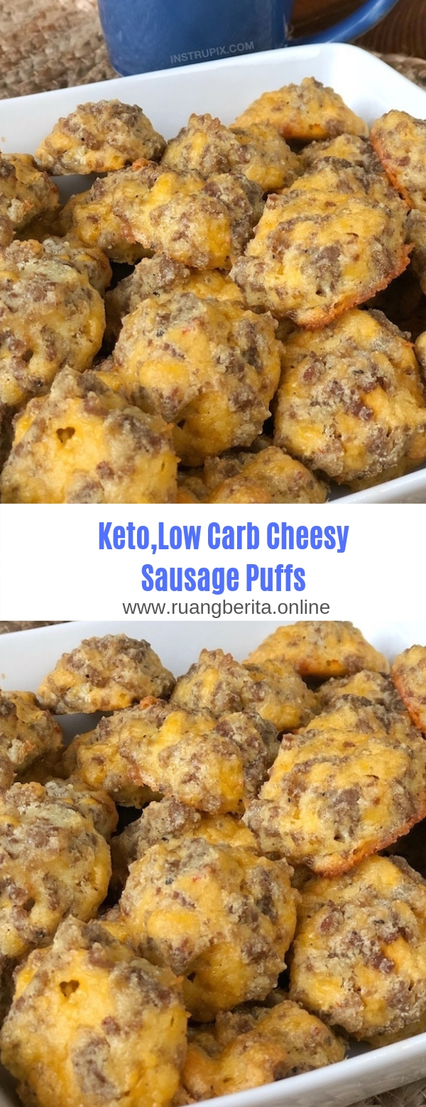 Keto,Low Carb Cheesy Sausage Puffs