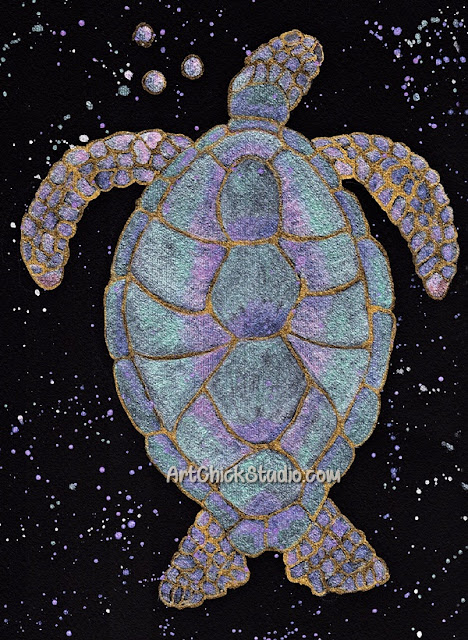 Gilded Turtle Watercolor Art Chick Studio
