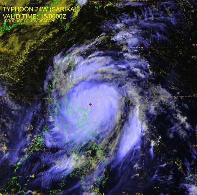 Typhoon Karen satellite image courtesy of JTWC.