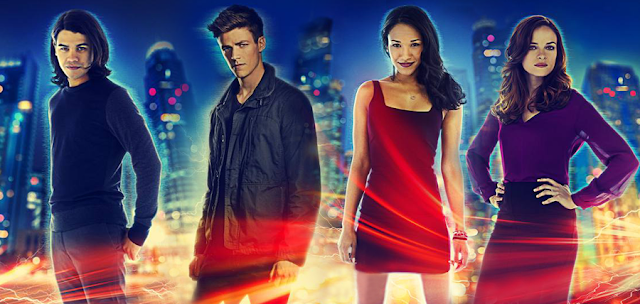 Cisco Ramon, Barry Allen, Iris West şi Caitlin Snow în serialul The Flash