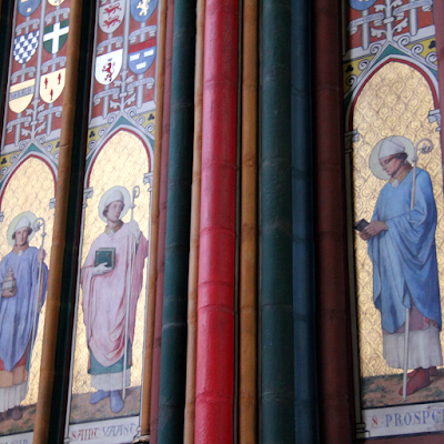 Colorful and elaborately decoration of the Saint Etienne cathedral.