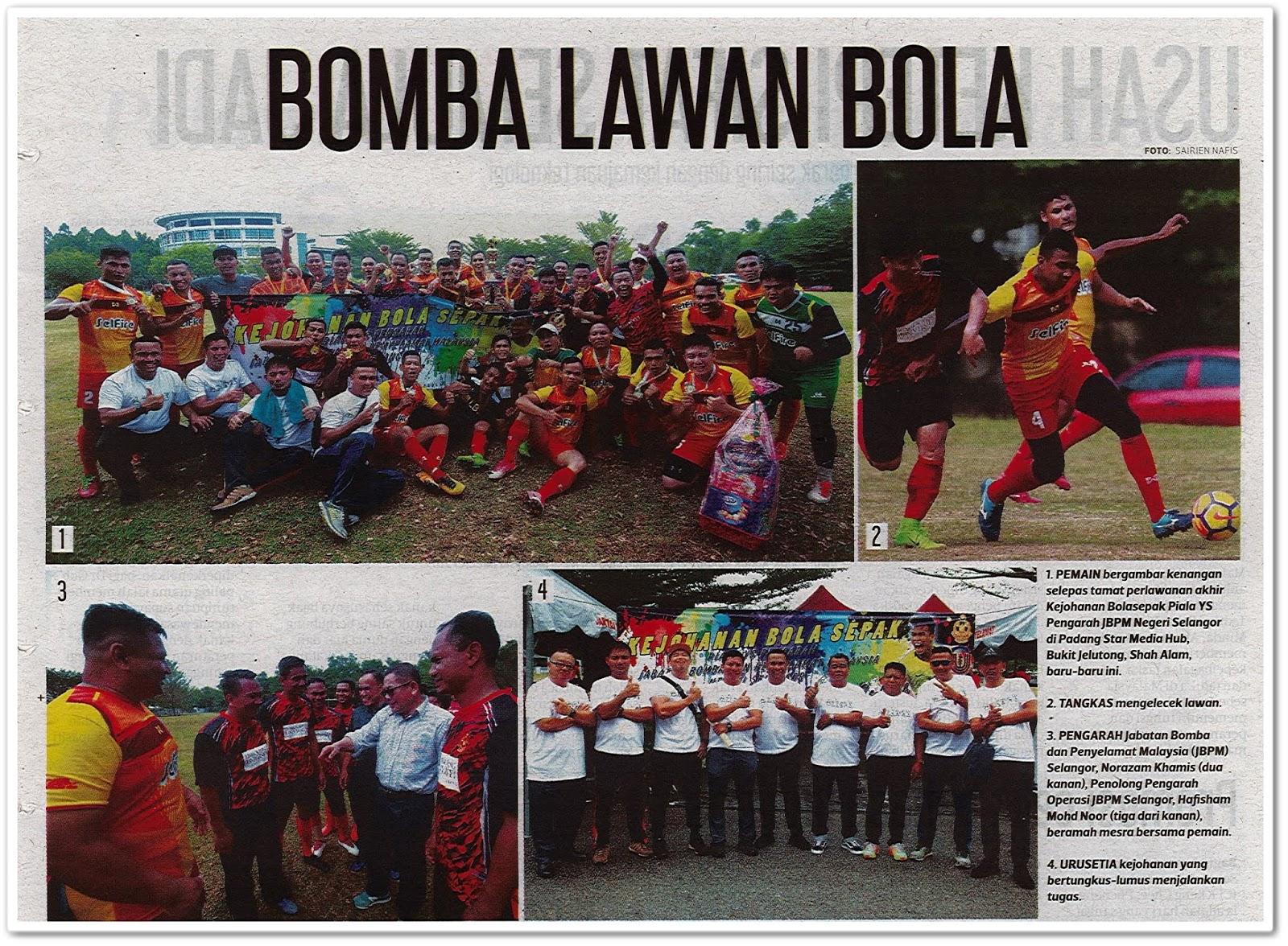 Lensa kamera ; Bomba lawan bola - Keratan akhbar Harian Metro 9 Oktober 2019