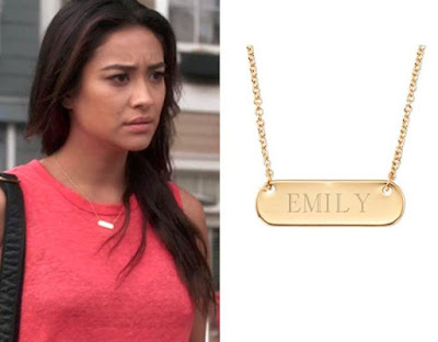 "Shay Mitchelle ""Emily"" on PLL in Stella & Dot Engravable Necklace"