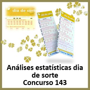 Estatísticas dia de sorte 143 análises das dezenas