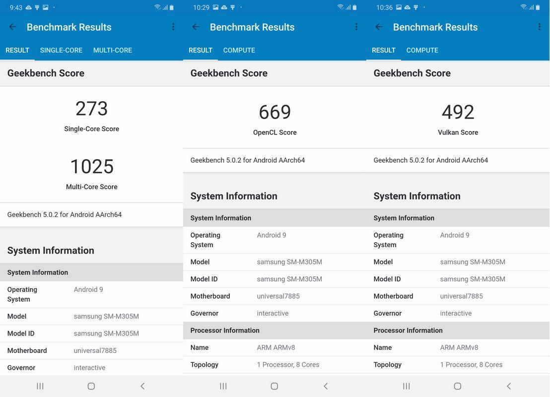 Benchmark Geekbench 5 Samsung Galaxy M30