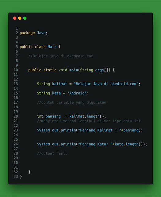 Method .length() di String java