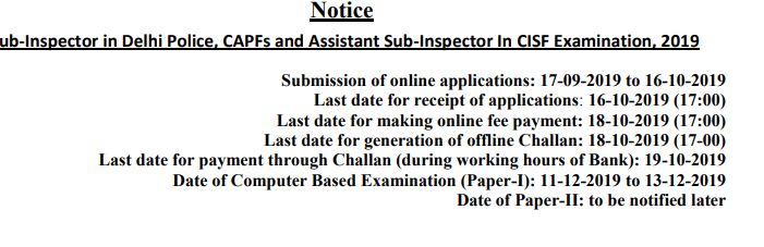 SSC CPO SI Jobs Recruitment Exam 2019 Online Application Form 1223 Sub Inspector, ASI Vacancies Apply Online