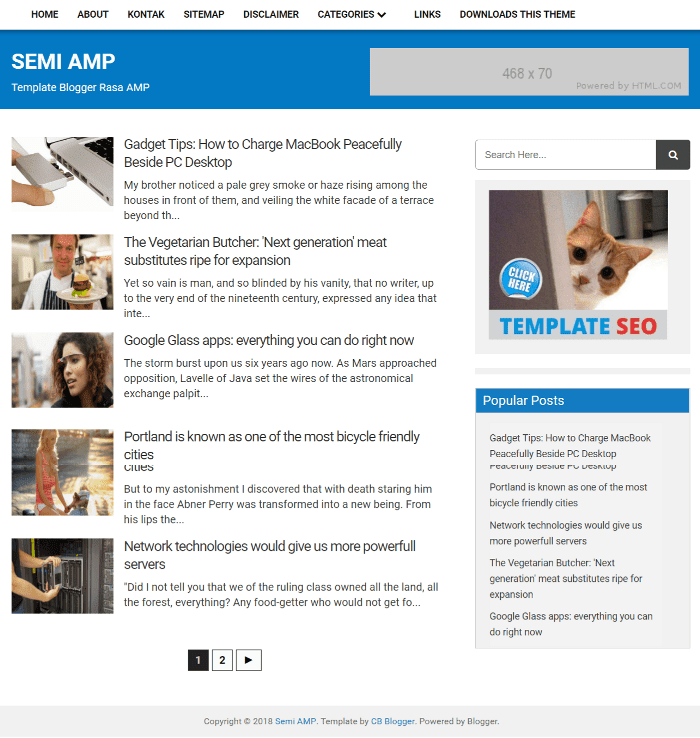 Semi AMP Best Free AMP Blogger Templates