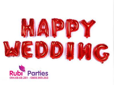 Bong chu HAPPY WEDDING mau do
