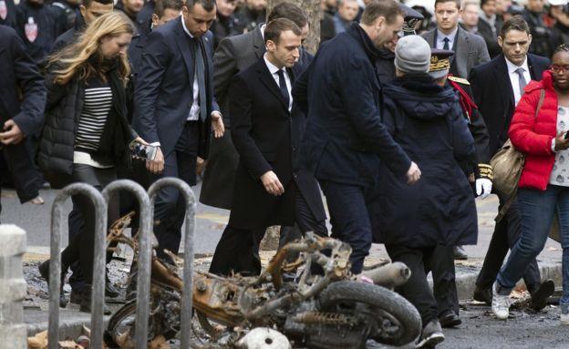macron visits protests