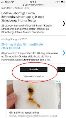 Skärmbild av länk för att byta till webbversion