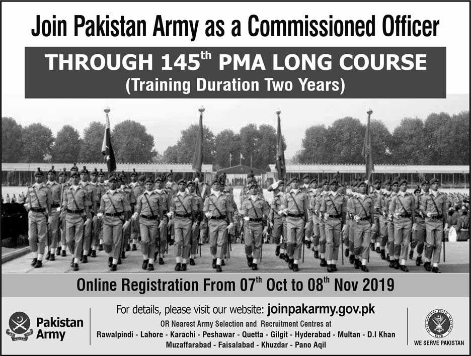 Join Pakistan Army as Commissioned Officer Through 145 PMA Long course