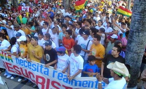 Protesta de cristianos contra libertad religiosa en Bolivia