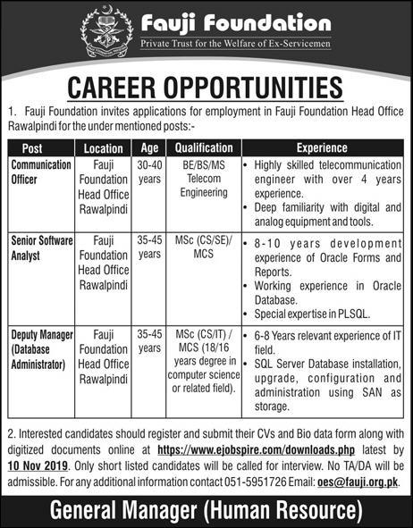 Fauji Foundation Jobs November 2019