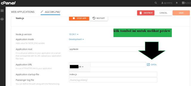 lokasi tombol preview hasil deploy nodejs di cPanel