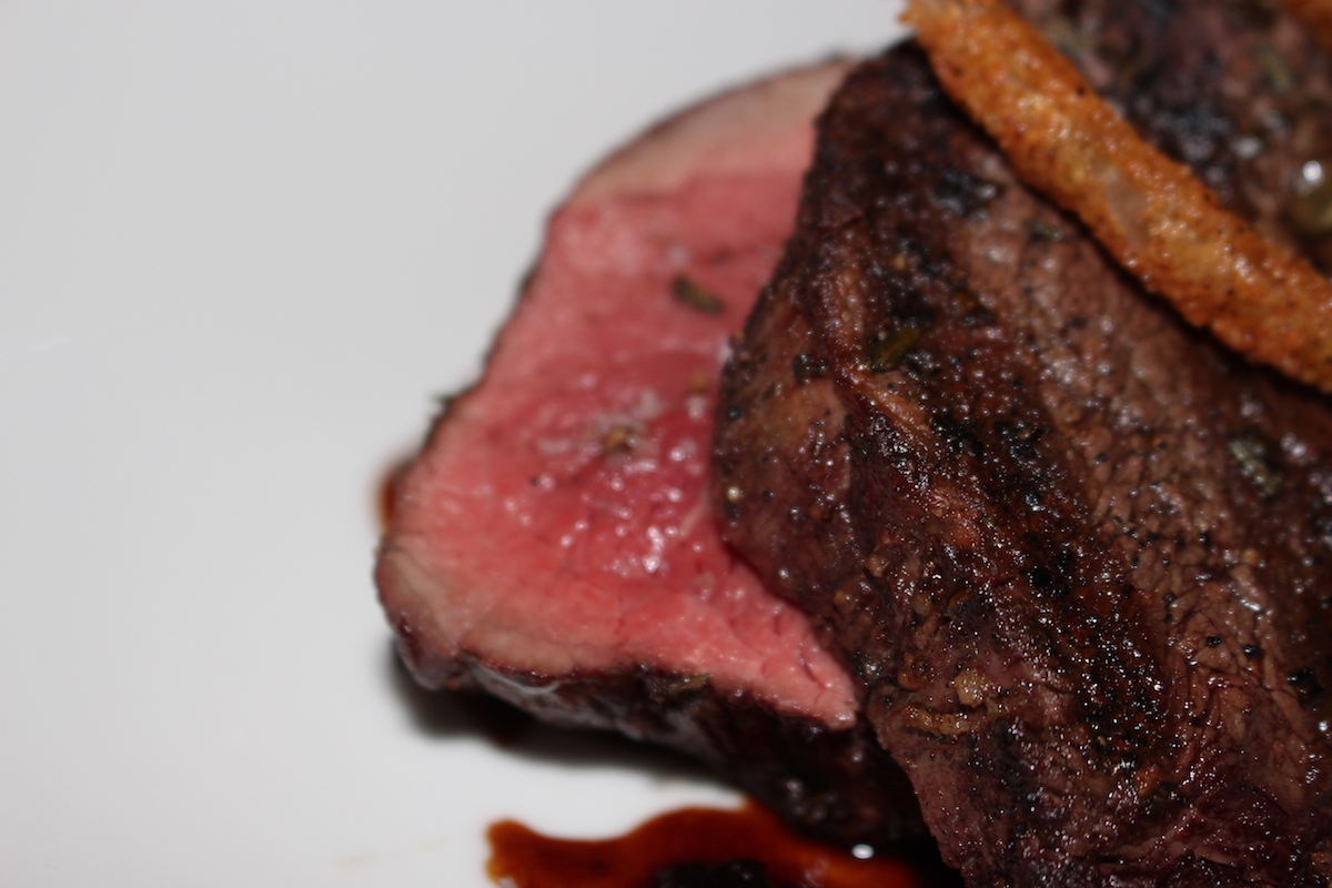 This is a close up of the medium rare steak from Shagbark. The tenderness is so nice.