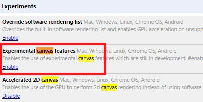 Experimental Canvas Features google chrome flags
