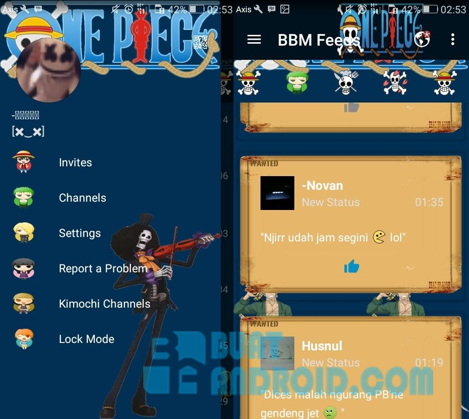 BBM Mod One Piece Versi 30125 Apk New World Buat Android