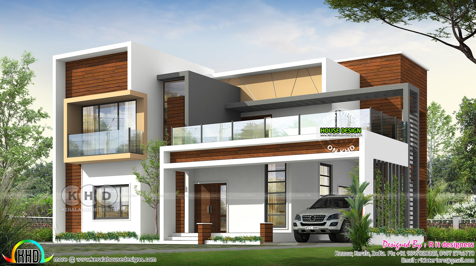 2852 square feet flat roof contemporary house plan kerala home rh keralahousedesigns com