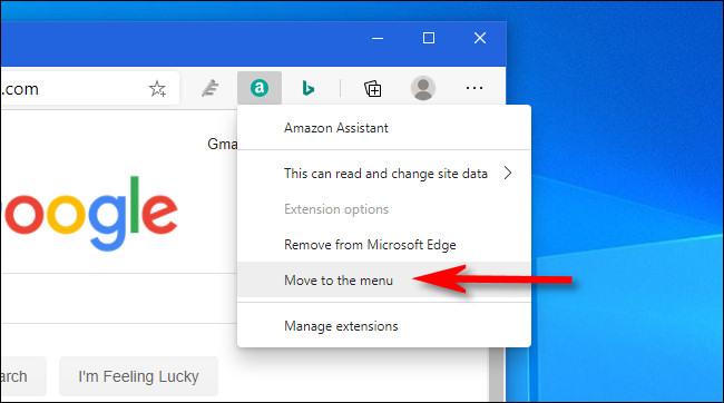 """في Edge ، انقر بزر الماوس الأيمن فوق رمز الامتداد وحدد """"نقل إلى القائمة""""."""