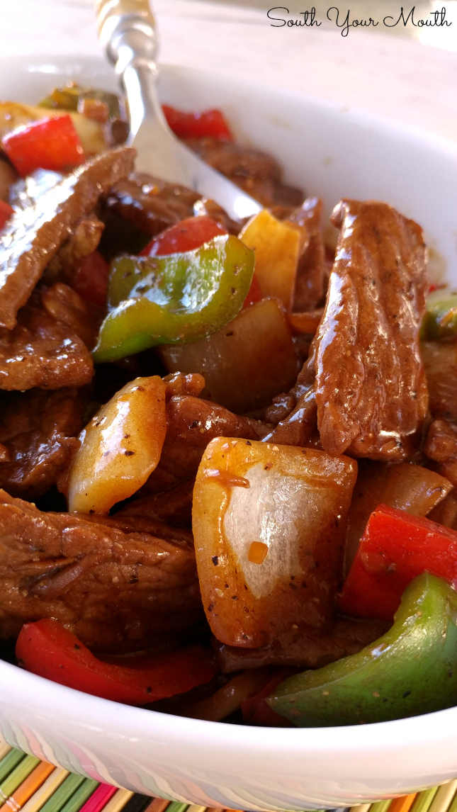 Beef strips with peppers and vegtables