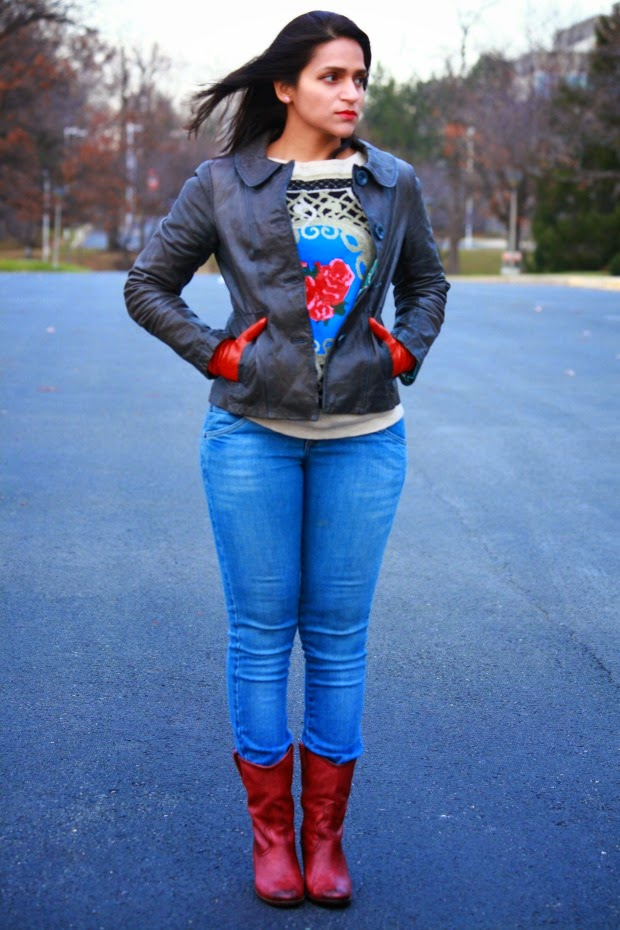 Jacket - Fossil Sweater - From India  Boots - Lucky Brand Gloves - SAKS Tanvii.com
