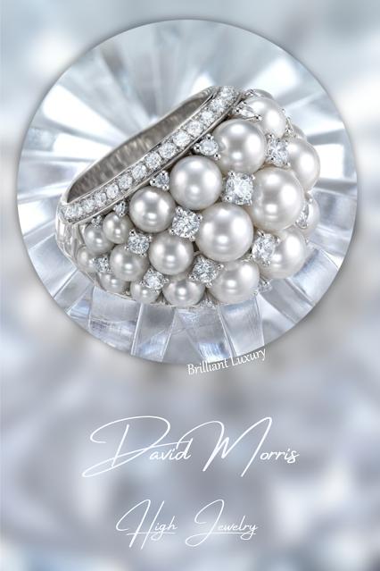 ♦David Morris sparkling diamond pearl Deko ring #jewelry #brilliantluxury