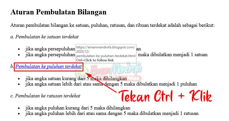 Teks hyperlink ke halaman website