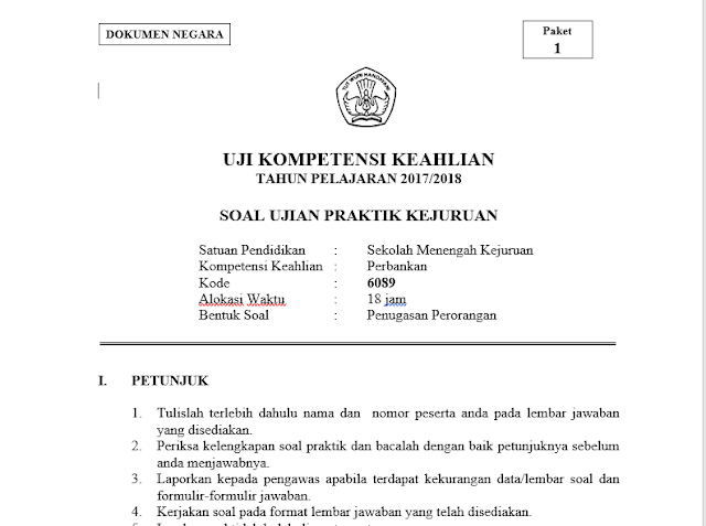 Soal UKK Perbankan Tahun Pelajaran 2017-2018