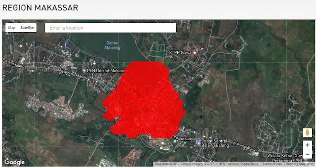 Peta Cakupan Jaringan 4G LTE Hinet Makassar