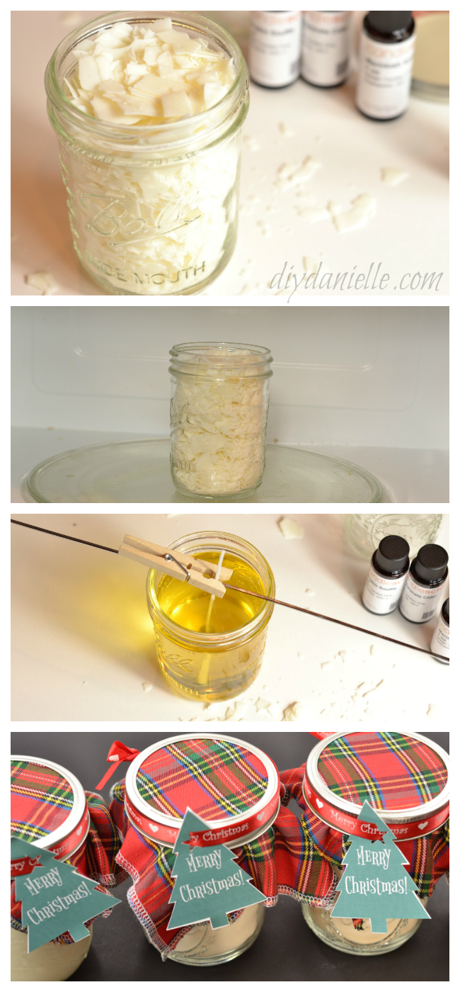 Easy four steps to making scented soy candles in mason jars.