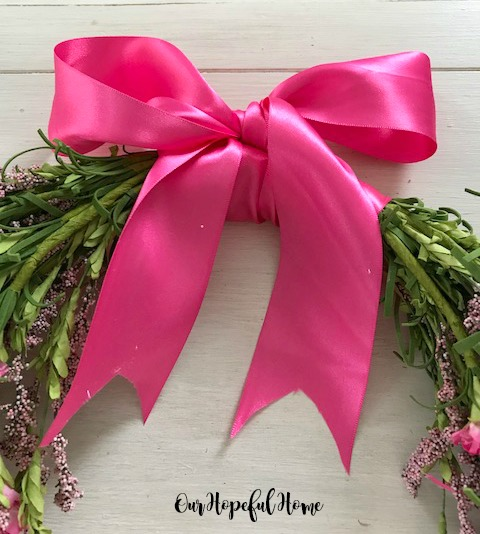 hoop wreath spring floral ribbon DIY tutorial