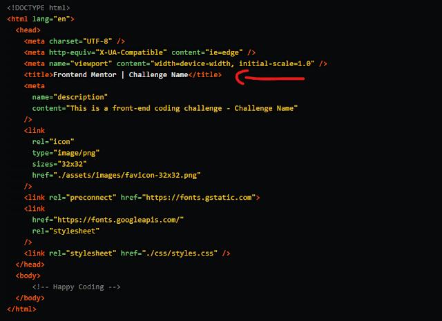 الكود المبدئي لملف HTML