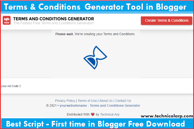 free terms and conditions generator tool script for blogger