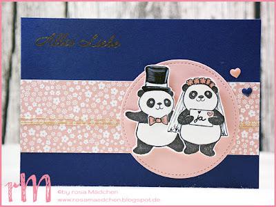 Stampin' Up! rosa Mädchen Kulmbach: Stamp Impressions Blog Hop: Sweet Hearts - Hochzeitskarte mit Party Pandas, Blumen von Herzen und Framelits Stickmuster