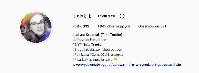 Takie książki - Taka Troche o Pierwszy tysiąc na Instagramie: jusiak_k