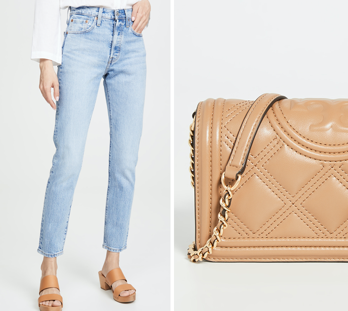 levis wedgie skinny jeans, tory burch quilted crossbody bag
