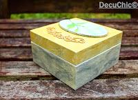 pudełko decoupage, efekt marmuru