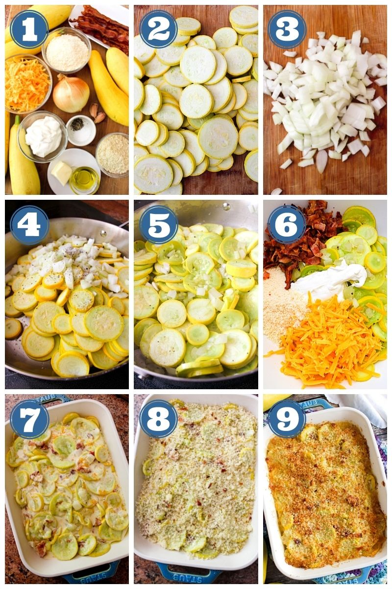 Collage of images showing Yellow Squash Casserole with Bacon being made..