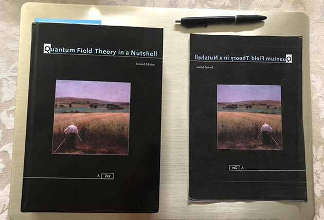Original textbook (left) and mirror image cover sheet (Source: Palmia Observatory)