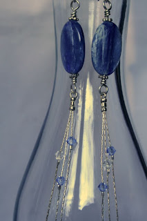 Ada (noble, happy): Argentium, Sterling silver, Kyanite, Swarovski crystals, wire wrapped OOAK earrings :: All Pretty Things