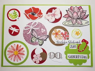 Große Geburtstagskarte zum 90sten Geburtstag Stampin' Up! www.eris-kreativwerkstatt.blogspot.de