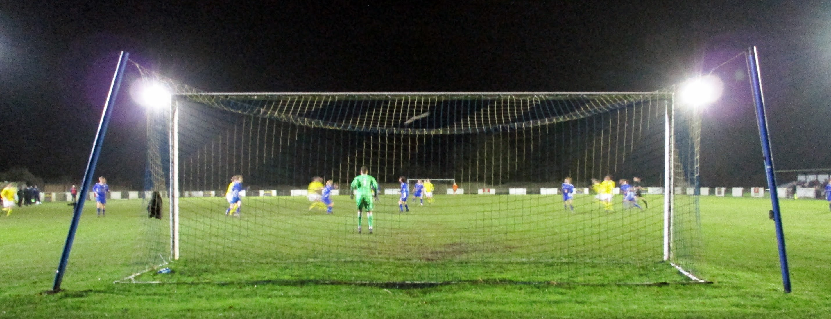 Behind the goal at The Rivermoor Stadium