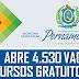 SECRETARIA DE EDUCAÇÃO DE PERNAMBUCO ABRE 4.530 VAGAS EM CURSOS GRATUITOS