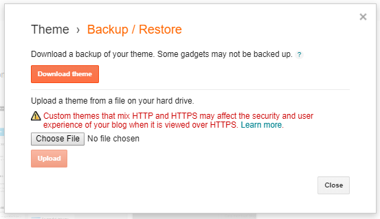 Backup template pada blog
