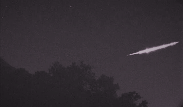 A still from a video shows a fireball passing over Kyoto, Japan