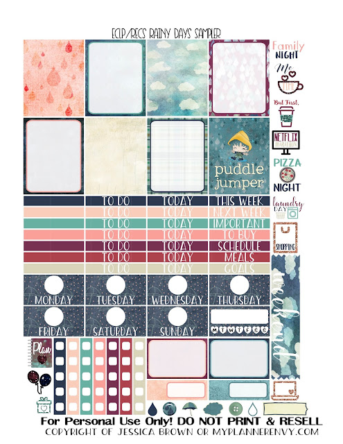 Free Printable Rainy Days Sampler for the Vertical Erin Condren and Recollections Creative Year Planners from myplannerenvy.com