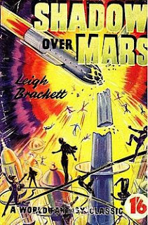 Shadow over Mars book cover. Illustration of rocket hitting tower.