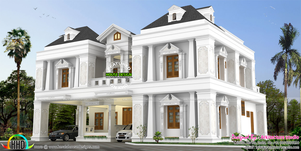 4 bedroom 4500 sq ft house kerala home design and floor for Colonial style house plans kerala